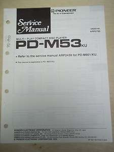 Pioneer Service Manual~PD M53 CD Player~Original~Repair