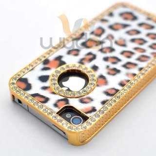 Luxury Bling Rhinestone Diamond Leopard Gold Chrome Hard Case Cover