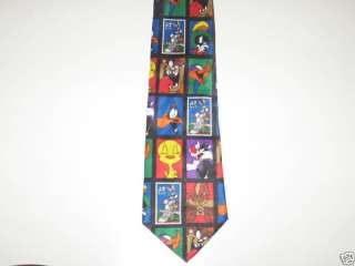 Looney Tunes Postage Stamp Bugs Bunny Sylvester Tie NWT