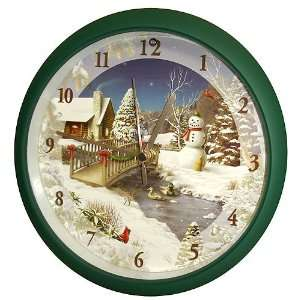In Winter Scene Christmas Carol Wall Clock 8 #XAG8: Home & Kitchen