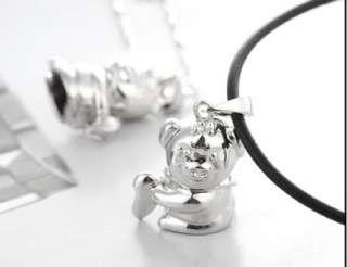 LN23 925 Sterling Silver I Love You Heart Lovely Pig Pendants Couple
