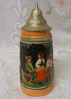 Vintage German Lidded Collectible Beer Stein Mug