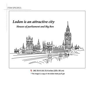 BIG BEN, LONDON Adhesive Removable Wall Decor Accents Graphic Stickers