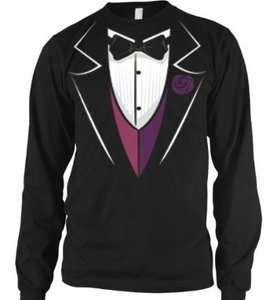 Bow Tie Tuxedo Thermal Long Sleeve Shirt Funky Trendy Funny Fake Tux