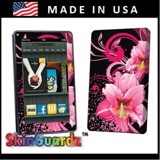 Black Pink Flower Vinyl Case Decal Skin To Cover  Kindle Fire