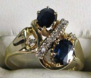 Estate 14k Yellow Gold 1.20ctw Blue Sapphire & H VS Diamond Ring 4.6g