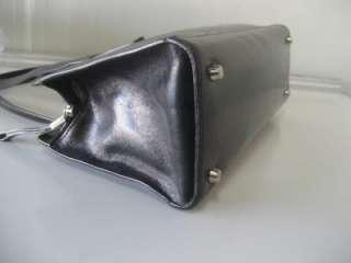 BLACK ITALIAN GLAZED LEATHER SATCHEL PURSE HANDBAG SHOULDER BAG