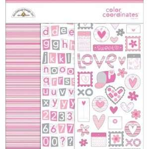 12 Inch by 12 Inch Doodlebug Color Coordinates Page Kit, Loopy Love