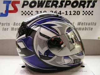 VEGA SHURIKEN MOTORCYCLE HELMET SILVER SHIELD BLUE XL