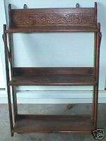 Unusual Antique Larkin Oak folding wall shelf