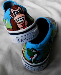 HAND PAINTED SUPER MARIO BROTHERS KIDS SHOES SIZE 11 **