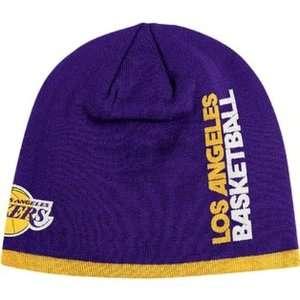 LOS ANGELES LAKERS NBA CUFFLESS TEAM KNIT BEANIE HAT/CAP