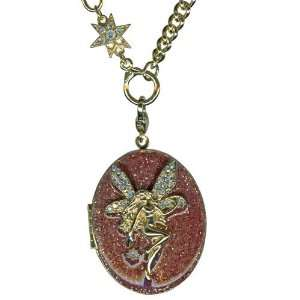 Kirks Folly Fairy Love Locket Necklace Goldtone