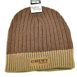 BEANIE KNIT HAT CAP CHEVROLET CHEVY TRUCKS RACING BROWN