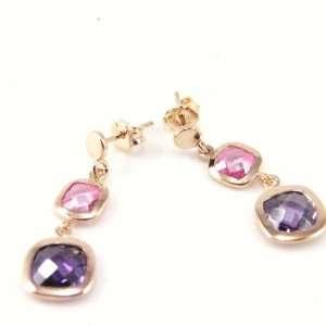 Earrings plated gold Linda purple pink. Jewelry