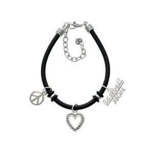 Silver Baseball Mom Black Peace Love Charm Bracelet