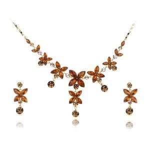 Swarovski Crystal Element Bejeweled Link Floral Earring Necklace Set