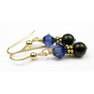 Sapphire Pearl Swarovski Crystal Elements   1 Inch Damali Jewelry