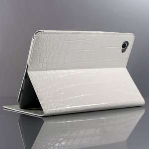 White / Crocodile pattern Leather Stand Case for Galaxy Tab GT