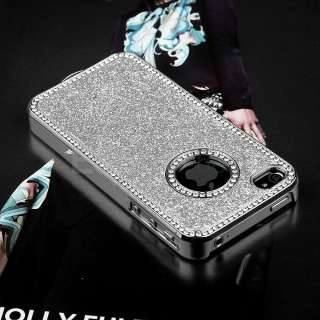 Silver Luxury Bling Glitter Chrome Diamond Rhinestone Hard Case For