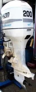 1998 JOHNSON 2 STROKE 200 HP OUTBOARD MOTOR 25 SHAFT BOAT ENGINE RUNS