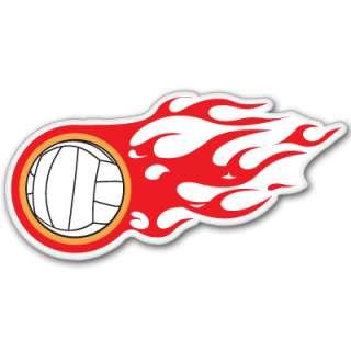 Volleyball on fire car bumper sticker 5 x 3