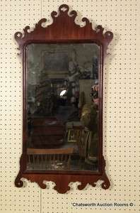 Antique Mahogany Chippendale Looking Glass Mirror c1790