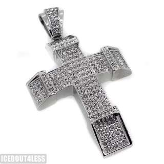 finish iced out block cross pendant hip hop style with czech crystals