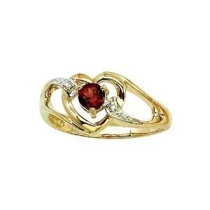 14K Yellow Gold 0.01 ct. Diamond and 4 MM Garnet Heart