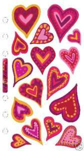 Sticko Valentines Red & Gold True Love Hearts Stickers