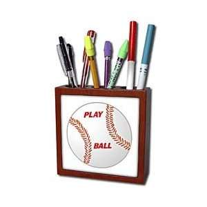 Florene Sports   Baseball With Play Ball In Red   Tile Pen