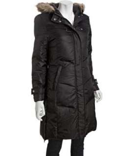 Hawke & Co. black quilted down faux fur trim hooded jacket