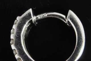 14K White Gold .28 CT Natural Diamond Bar Channel Round Huggie Hoop