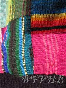 Vintage Guatemala Womens Bright Multi Color Woven Cotton Jacket Coat