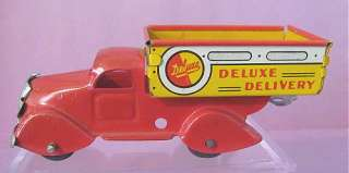 Vintage MARX Toy Pressed Steel Tin Deluxe DELIVERY TRUCK & 2 Trailer
