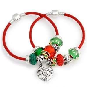 Lil Sis Sterling Christmas Charms Bracelet Set Pandora Style Jewelry