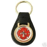 Fire Rescue Fireman Maltese Cross Leather Key FOB Ring