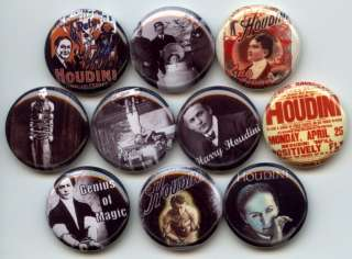 HOUDINI Harry Magic Illusion Magician 10 Buttons Badges Pins