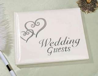 Elegant Wedding Bridal Guest Book Album with DOUBLE HEARTS ~ SILVER