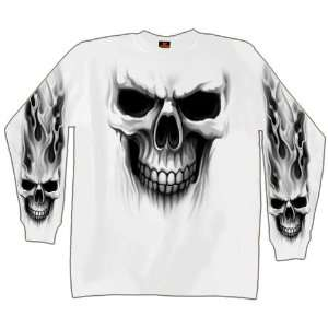 Hot Leathers White Medium Ghost Skull Long Sleeve T Shirt