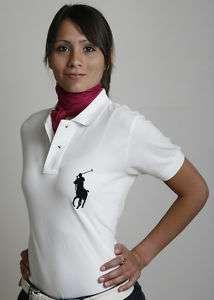 Ralph Lauren Ladies Polo BIG PONY WHITE/BLACK CLASSIC FIT NWT