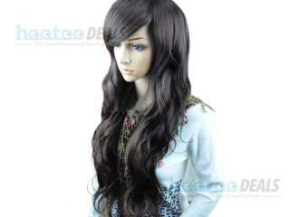 lady cosplay party long full curly/wavy★ hair wig/wigs black / brown