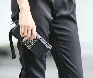 Fashion Korean PU Leather Punk Rivet Lady Clutch Purse Wallet Bag