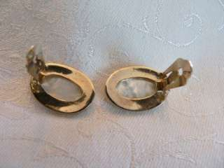 vintage / new carded Bergere clip earrings Mother of Pearl shiny gold