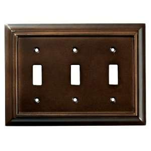 Architectural Triple Switch Wall Plate, Espresso