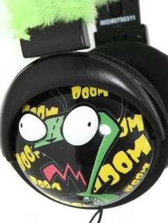 Invader Zim Gir Alien Robot Plush EARS Black Cups DJ STEREO HEADPHONES