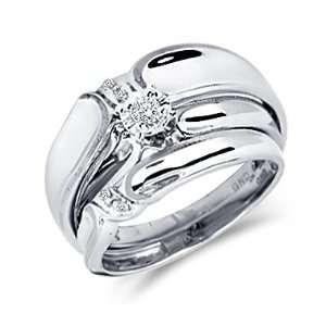 Diamond Engagement Rings Set Wedding Bands White Gold Men Ladies .09ct