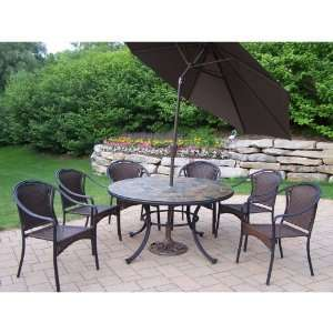 Oakland Living Stone Art All Weather Wicker Patio Dining