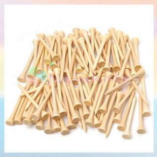 100Lot 70mm 2 3/4 Natural Color Wooden Golf Ball Tees