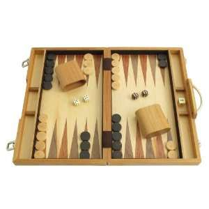 15 Backgammon Board Game Set   Olive Wood Attache Case Toys & Games